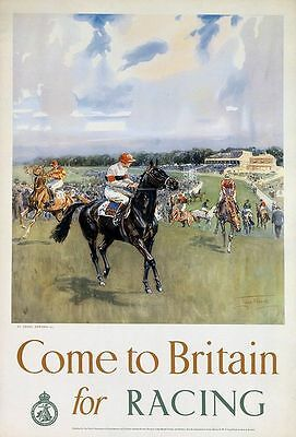 Vintage Epsom Spring Meeting Horse Racing Poster Print A3//A4