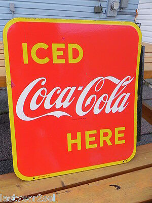RARE 1951 ORIGINAL VINTAGE PORCELAIN ENAMEL 2 SIDED COCA COLA FLANGE SIGN PEPSI