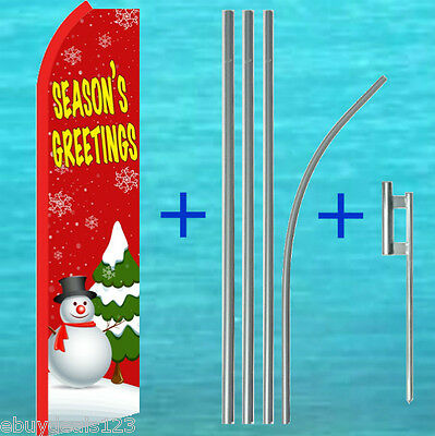 SEASONS GREETINGS Snowman Holiday Swooper Banner Feather Flutter Curved Top Flag