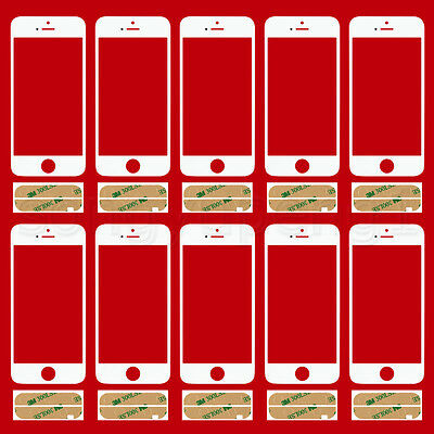30 X White Replacement  Front outer  Screen Glass Lens for Apple iPhone 5S