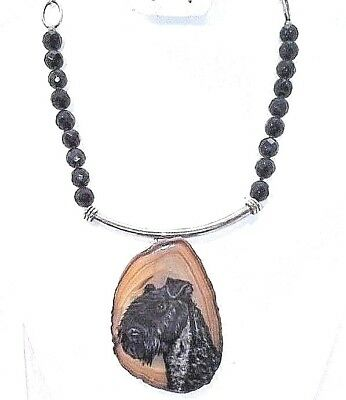 HANDMADE & Hand Painted Kerry Blue Terrier on SS Bail and Black faceted onyx 16""