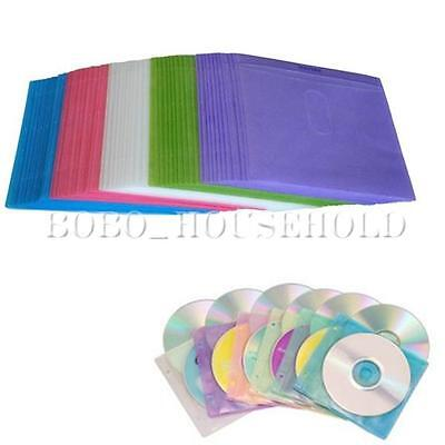 100Pcs CD DVD Double Sided Cover Storage Bag Plastic Case Sleeve Holder Package
