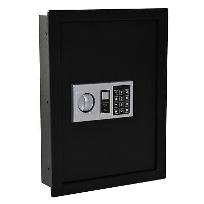 HOMCOM Steel Wall Mounted Digital Safe Box W/ Theft Lock Home Office Security