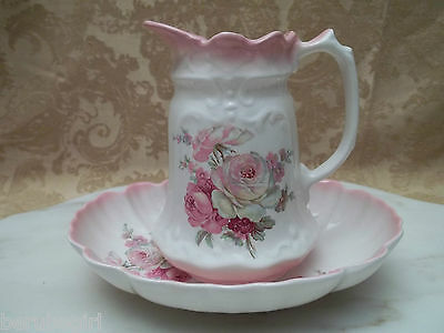Vintage Old Foley James Kent Pink Pitcher/Jug & Bowl/Bassin With Roses Excellent