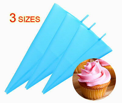 Silicone Reusable Cake Icing Piping Cream Bag Decorating New Family 3 Sizes Set