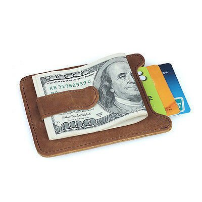 Quality New Leather Money Clip/credit Card Holder Mens Gift Brown Vintage Wallet