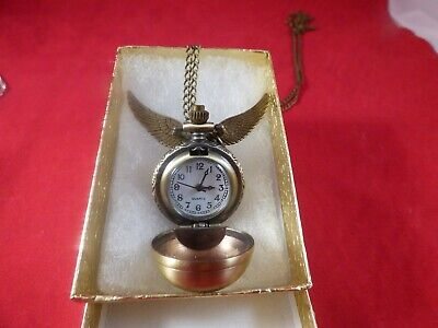 Harry Potter Snitch Watch Necklace Steampunk Quidditch Pocket Clock Pendant USA