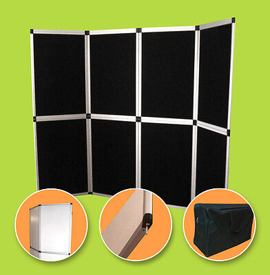 8 Panel Folding Trade Show Backdrop Booth Banner Exhibit Display 6'x8' - BLACK