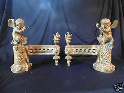 Antique French Bouhan Freres Gift Bronze Cherub Andirons Fire Dogs Chenet