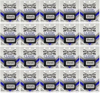 100 Wilkinson Sword CLASSIC Double Edge Razor Blades - 20 packs of 5 =100