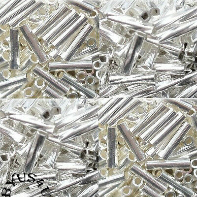 SPACER TUBE BEADS LIQUID SILVER SMOOTH and SPIRAL TWIST 100pc