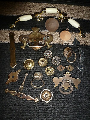 MIXED LOT x21 VINTAGE METAL DRAWER CABINET DRESSER DOOR PULLS~HANDLES