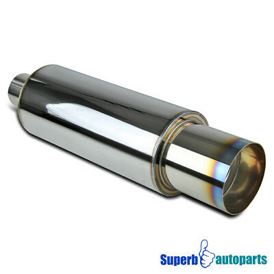 "For Universal N1 4"" Burnt Tip Stainless Exhaust Muffler"