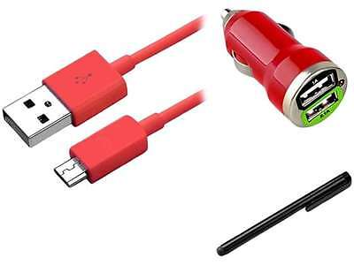 Insten Red Micro USB 2- in-1 Cable + Red Dual USB Mini Car Charger Adapter + Bla