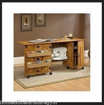 Sewing Craft Cabinet Machine Table Storage Bins Sew Organizer Furniture Home