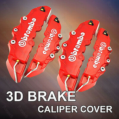 4PCS Universal Car Disc Brake Style Caliper Covers Front+Rear Brembo 3D RED