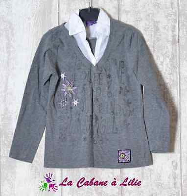 ♥ Tee Shirt Chemise Gris Blanc Violet Manche Longue ME BABY GIRL 5 Ans ♥ I3