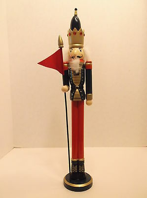 20 3/8 Inches Tall Skinny Wood Nutcracker Wearing a Jeweled Crown