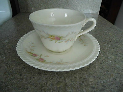 """Antique Harker Royal Gadroon - Coffee Cup & Saucer – """"Sweetheart Rose"""""""