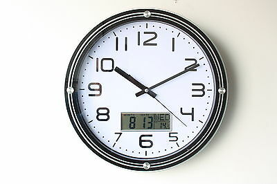 Stylish Glass Round Wall Clock with LCD Display - SW037 -12inch / 32cm Diameter