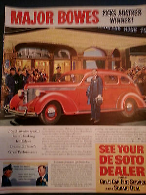 1938 Red Chrysler DeSoto Dealer Red Sedan Car Major Bowes Original Print Ad