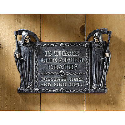 Grim Reaper Is There Life After Death? Trespassing Wall Door Plaque Sculpture