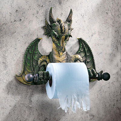 Gothic Medieval Flair Dragon Wall Mounted Bathroom Toilet Tissue Paper Holder