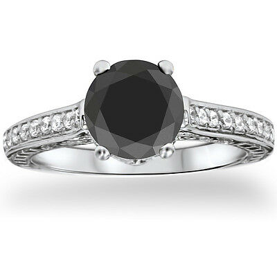 Bliss 14k White Gold 1 1/4ct TDW Vintage Black Diamond Ring