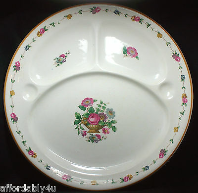 Antique Booths Perfector Rose Floral Grill Divided Porcelain China Plate England