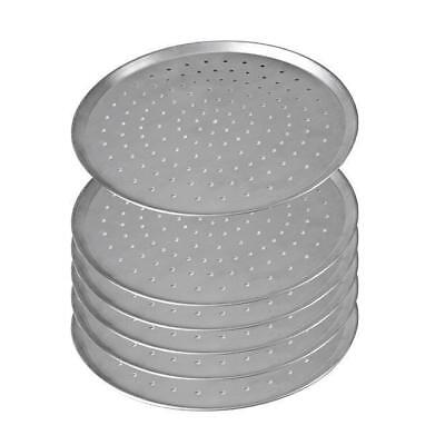 """6x Pizza Pan / Tray 330mm 13"""", Aluminium Perforated Plate, Round Oven Tray NEW"""