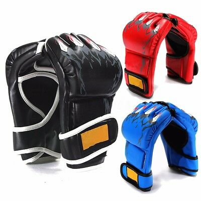 UFC Leather Boxing Gloves Grappling MMA Training Punching Sparring Mitts