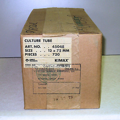 Case of 720 Culture Tubes without lip, 12 X 75mm, KIMAX (Kimble 45048) NOS