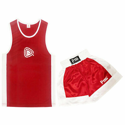 Prime Side kick Kids Boxing Shorts & Top Muay Thai High Quality Red 7-8 Years