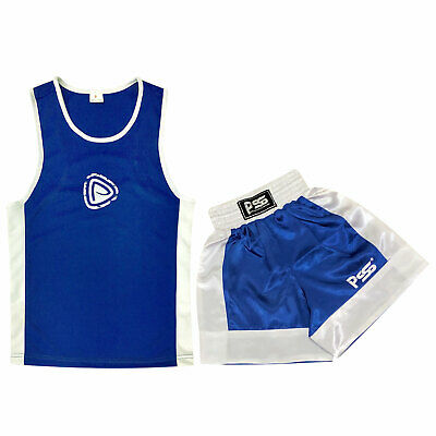 Kids Boxing Shorts & Top Set 2 Pieces High Quality Satin Fabric 5-6 Years Blue