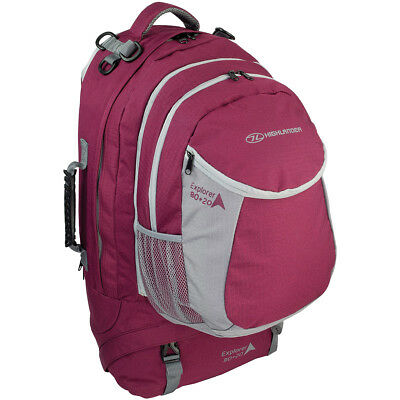 Highlander Explorer Ruckcase 80+20L Large Travel Bag Camping Backpack Raspberry