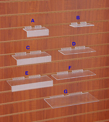 10 x HEAVY DUTY CLEAR PLASTIC|ACRYLIC SLATWALL SLAT|SLOT|WALL SHELF SHOP DISPLAY
