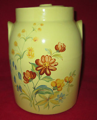 "Authentic McCoy Reproduction Cookie Jar Marked ""Circa 1911"" Yellow w/ Flowers"