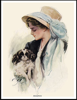 Japanese Chin And Lady Wearing Bonnet With Blue Ribbon Lovely Dog Print Poster