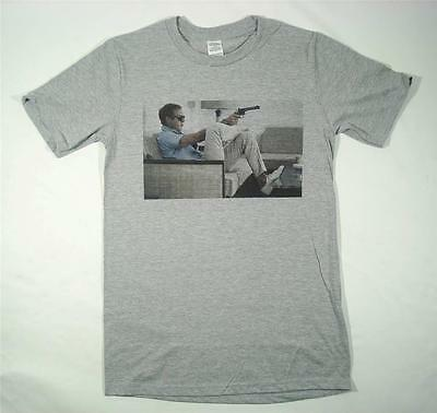 Steve McQueen Grey T-Shirt Size SMALL-XXXL Retro Vintage 'The King of Cool'