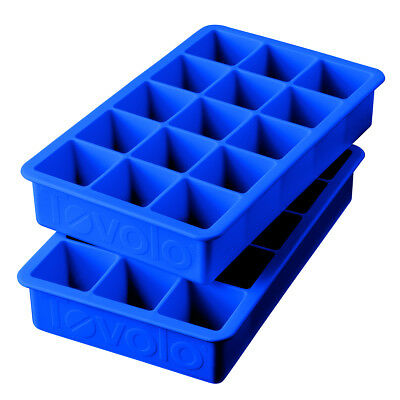 Tovolo Perfect Cube Silicone Ice Trays Set of 2, Stratus Blue