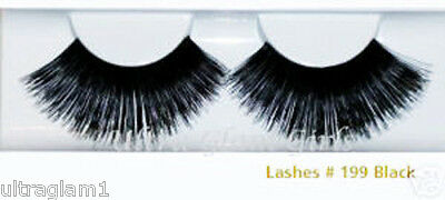 100pr WHOLESALE LOT #199 LONG BLACK FALSE SHOWGIRL EYELASHES/DANCE/ DRAG QUEEN