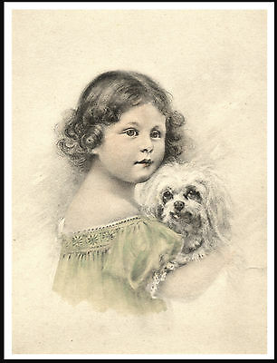 Little Girl Holding Maltese Dog Charming Vintage Style Art Print Poster