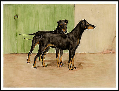 Manchester Terrier Two Dogs Lovely Vintage Style Dog Print Poster