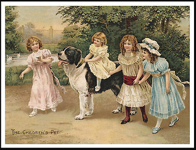 Little Girls Playing With Newfoundland Dog Lovely Antique Style Art Print Poster