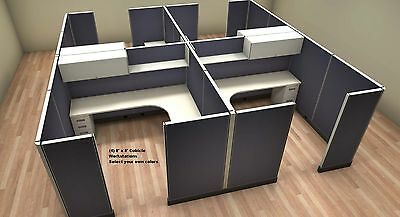 SET OF 4 OFFICE CUBICLES WORKSTATIONS each cubicle 8 feet x 8 feet HIGH QUALITY