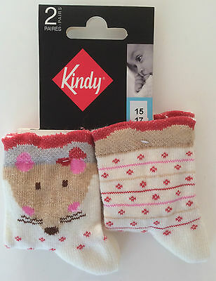 Lot 2 Paires Chaussette Bebe Kindy Pointure 15/ 17