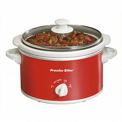 Proctor Silex Portable Oval Slow Cooker 1.5 Quart Red and White 100W