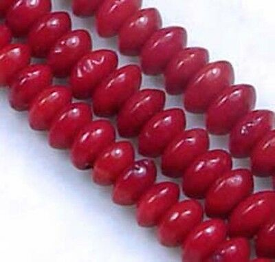 """4x2mm Red Banboo Coral Rondelle Abacus Beads 16"""""""