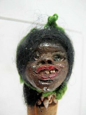 Pacific Islands / African Head With Human Hair Bottle Stopper, Zombie? C 1930's