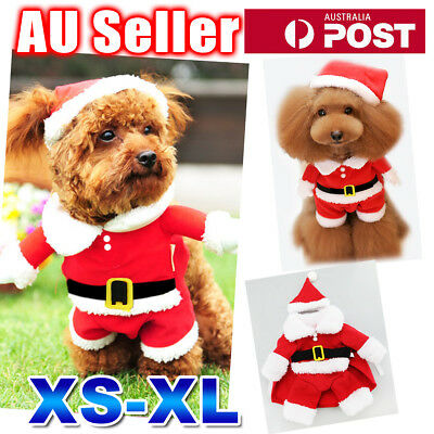 Pet Cat Dog Cute Xmas Christmas Santa Claus Hoodie Coat Warm Clothes Costume Hat